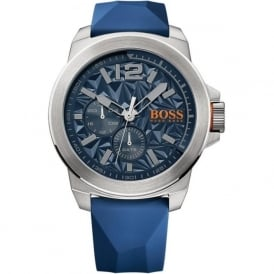 Hugo Boss Orange 1513348 Silver and Blue Rubber Men's Watch