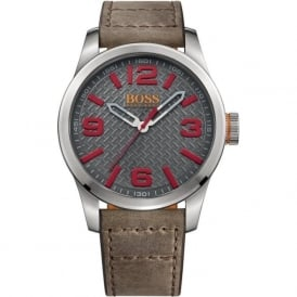 1513351 Silver & Grey Leather Men's Watch