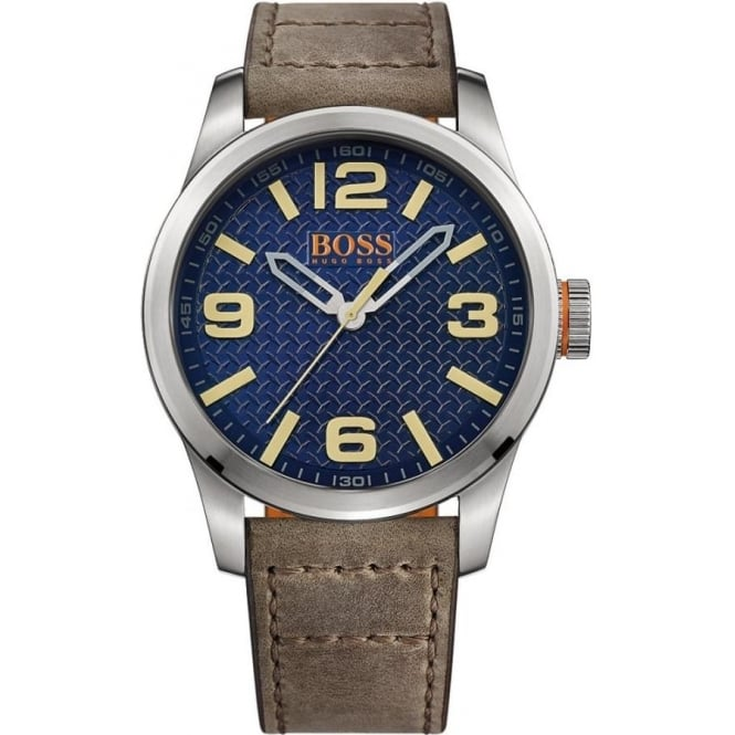 Hugo Boss Orange 1513352 Blue & Grey Leather Men's Watch