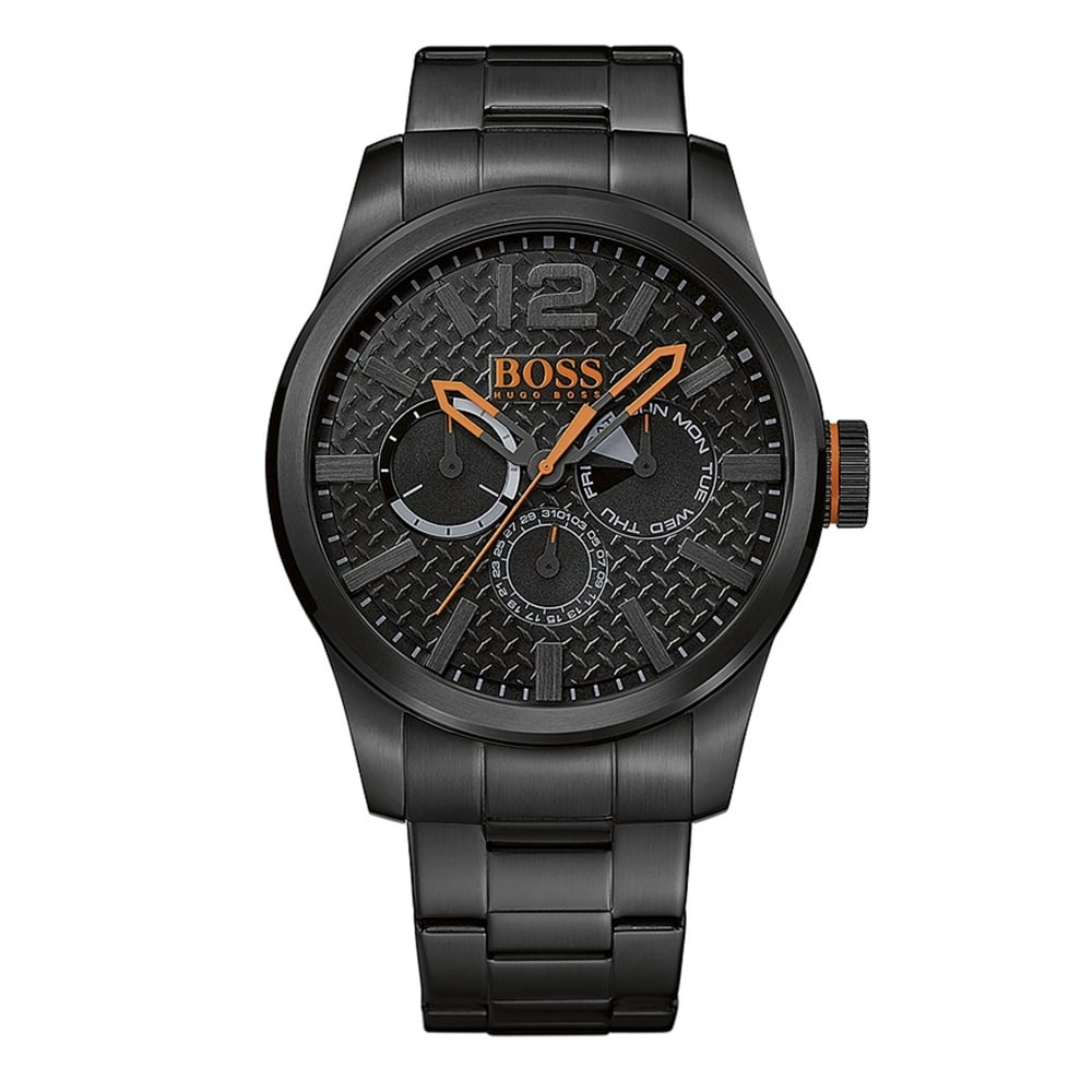 hugo boss orange 1513239 paris black stainless steel men s watch hugo boss orange 1513239 paris black multi functional stainless steel men s watch