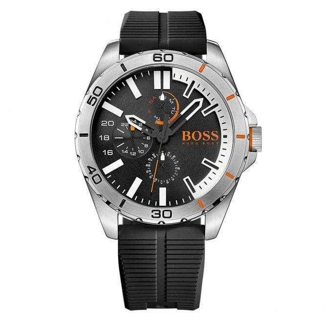 Hugo Boss 1513290 Berlin Silver & Black Multi-function Rubber Men's Watch