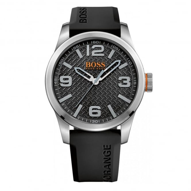 Hugo Boss Orange 1513350 Paris Silver & Black Rubber Men's Watch
