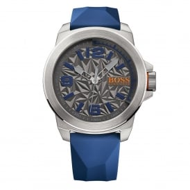 1513355 New York Silver & Blue Rubber Men's Watch