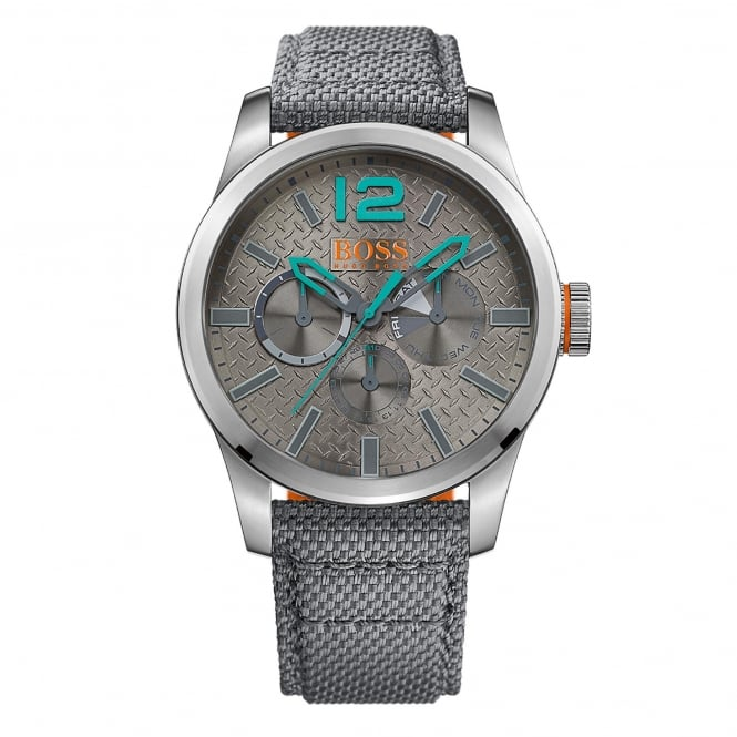 Hugo Boss 1513379 Paris Silver & Grey Multi-functional Fabric Leather Men's Watch