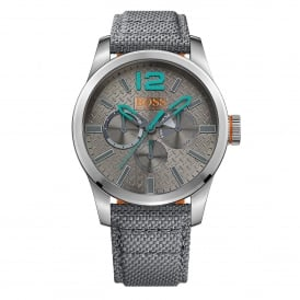 1513379 Paris Silver & Grey Multi-functional Fabric Leather Men's Watch