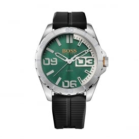 1513381 Berlin Silver, Green Dial & Black Silicone Men's Watch