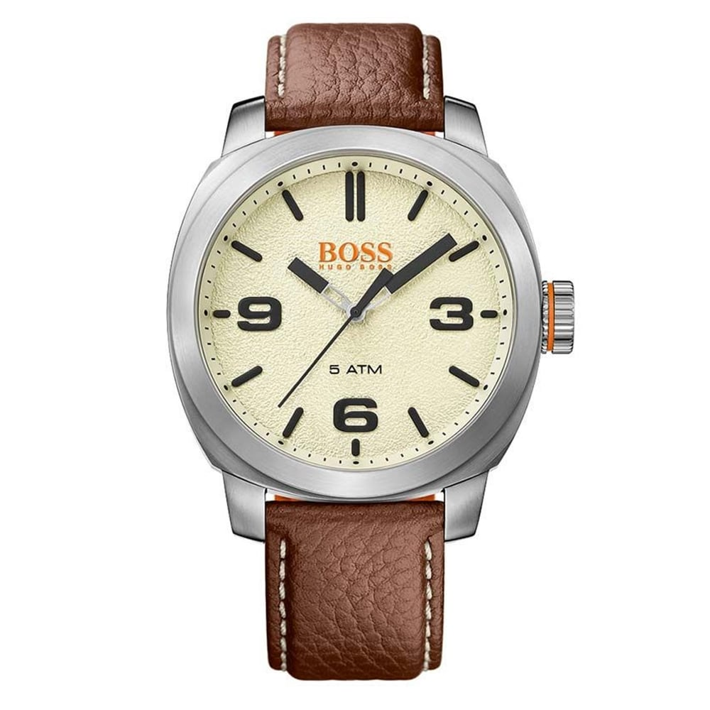 hugo boss orange 1513411 cape town silver and brown leather men s hugo boss orange 1513411 cape town silver brown leather men s watch