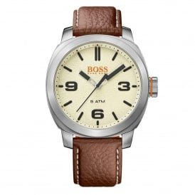 1513411 Cape Town Silver & Brown Leather Men's Watch