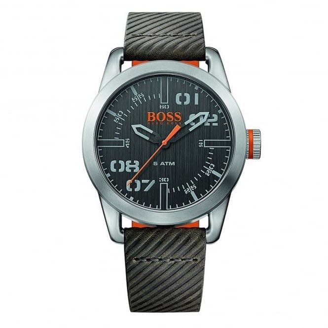 Hugo Boss 1513417 Oslo Grey & Black Leather Men's Watch