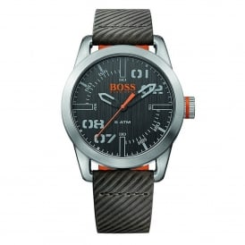 1513417 Oslo Grey & Black Leather Men's Watch