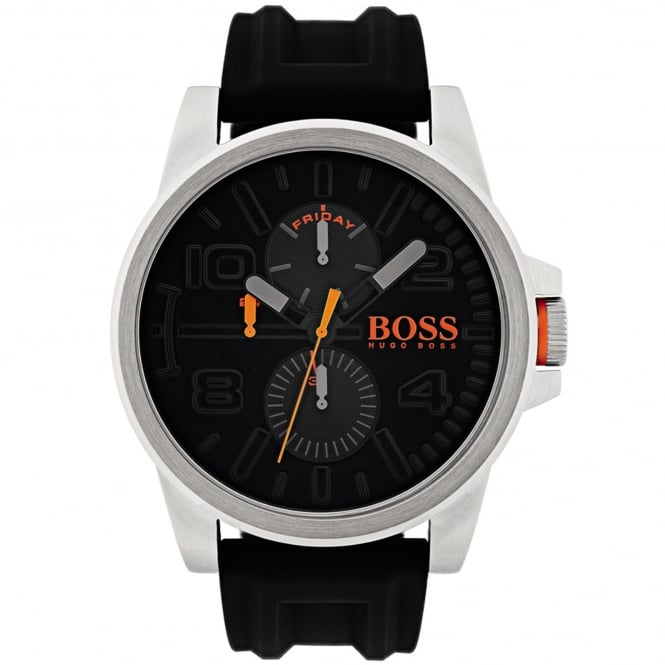 Hugo Boss 1550006 Detroit Silver & Black Rubber Men's Watch