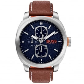 1550027 Capetown Silver, Blue Dial & Brown Leather Men's Watch