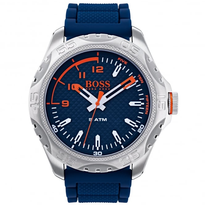 Hugo Boss 1550031 Honolulu Silver & Blue Silicone Men's Watch