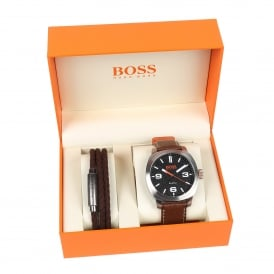 1570051 Cape Town Brown Leather Watch & Bracelet Gift Set