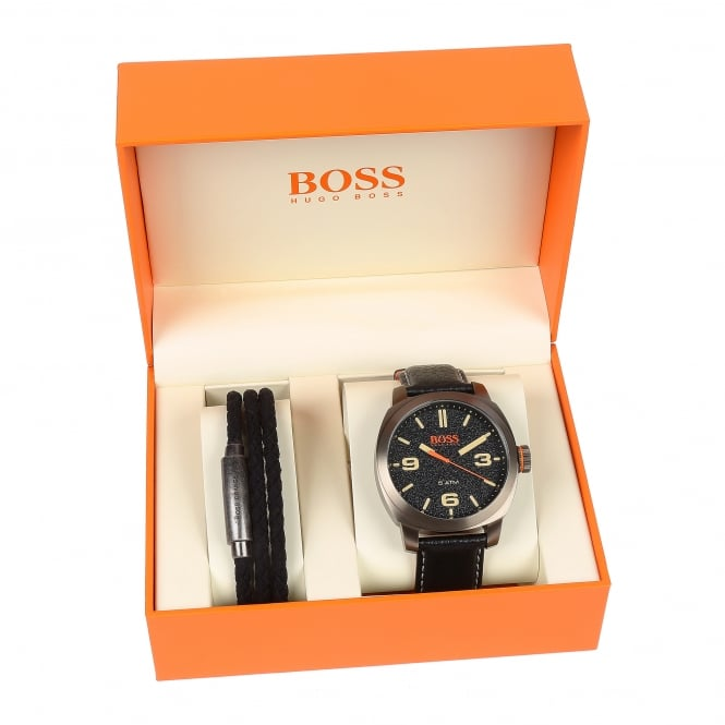 Hugo Boss 1570052 Cape Town Black Leather Watch & Bracelet Gift Set