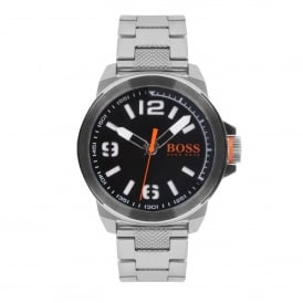 HUGO BOSS ORANGE 1513153 MEN'S NEW YORK STAINLESS STEEL & BLACK WATCH