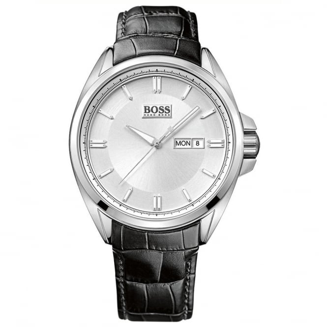 Hugo Boss 1512875 Black Textured Leather & Silver Men's Watch