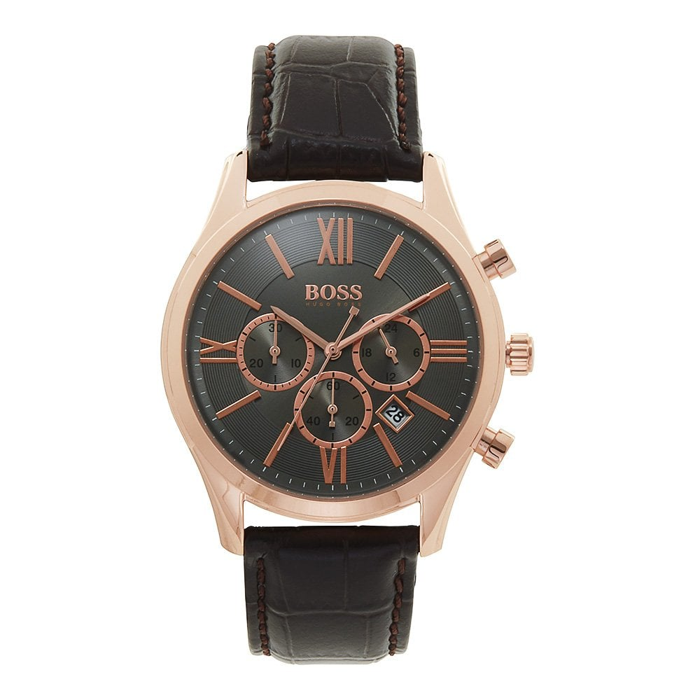 1513198 Ambassador Rose Gold Brown Leather Chronograph Men S Watch