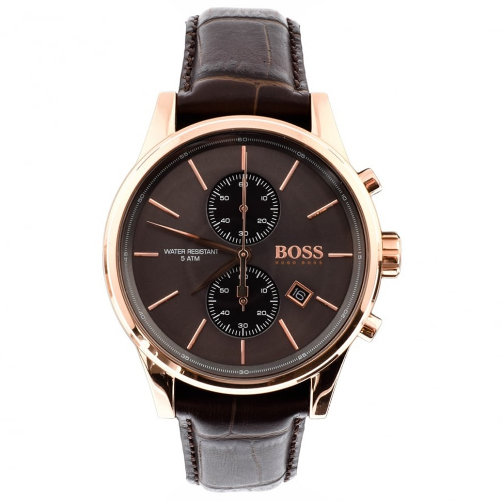 1513281 Jet Leather And Rose Gold Chronograph Men S Watch
