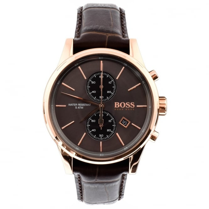 Hugo Boss 1513281 Jet Leather And Rose Gold Chronograph Men's Watch