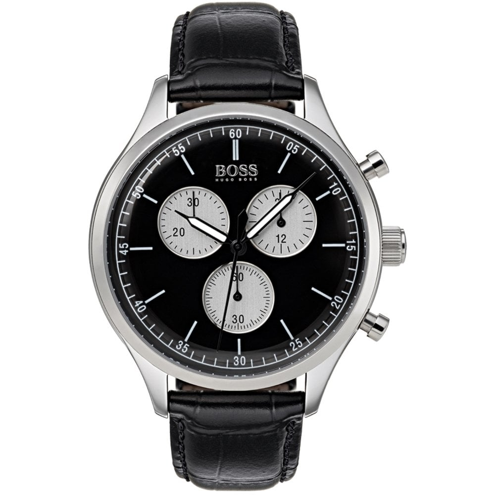 79b744a48 Hugo Boss Hugo Boss 1513543 Companion Silver & Black Croc Leather  Chronograph Men's Watch