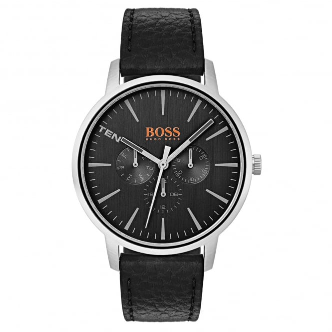 Hugo Boss 1550065 Copenhagen Silver & Black Leather Men's Watch