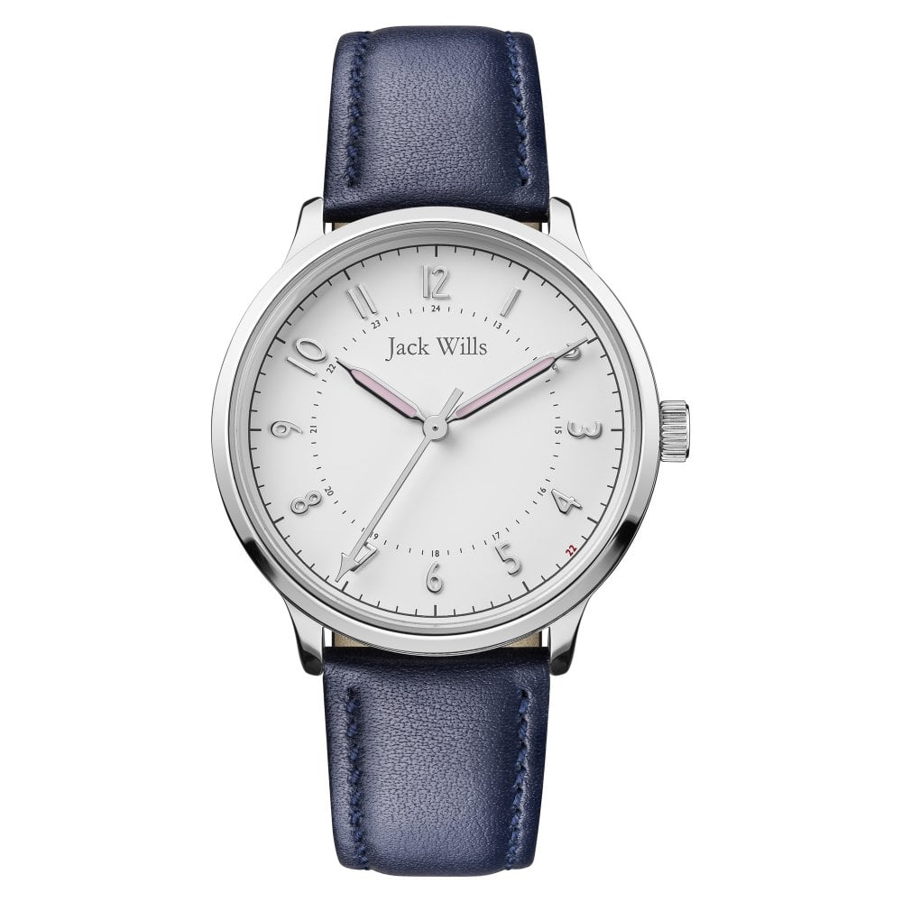 de839da78 JW017WHNV Silver and Navy Blue Leather Strap Watch