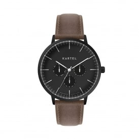 KT-CUIL-BBUMB-R Cuillin Black & Brown Multifunction Leather Men's Watch