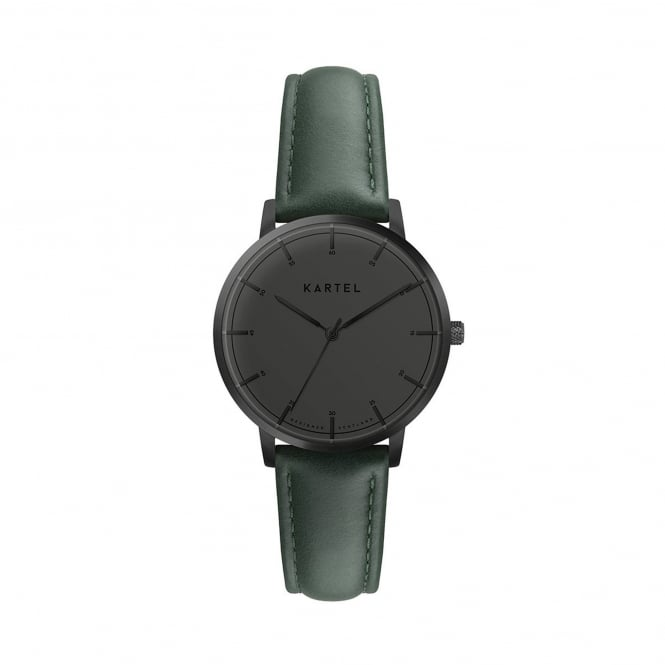 Kartel KT-ISLA-GBG-R Isla Gunmetal Grey & Green Leather Ladies Watch