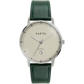 Kartel KT-HAIG-SG Haig Silver & Green Leather Watch