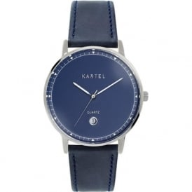 Kartel KT-HAIG-SNS Haig Silver & Navy Leather Watch
