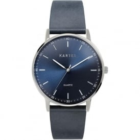 Kartel KT-HUME-SNS Hume Silver & Navy Leather Watch