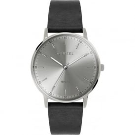 Kartel KT-HUME-SS Hume Silver & Black Leather Watch
