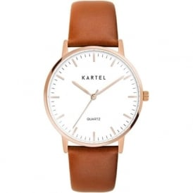 Kartel KT-LEW-RGT Lewis Rose Gold & Tan Leather Watch