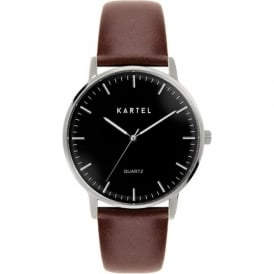 Kartel KT-LEW-SBC Lewis Silver & Chocolate Leather Strap