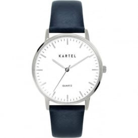 Kartel KT-LEW-SWN Lewis Silver & Navy Leather Watch