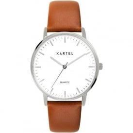 Kartel KT-LEW-SWT Lewis Silver & Tan Leather Watch