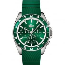Lacoste 2010851 Westport Mens Silver & Green Silicone Chronograph Watch