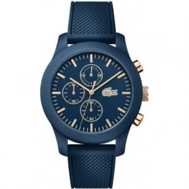 Lacoste 2010827 Gold & Blue Rubber Strapped Chronograph Watch