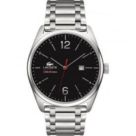 Lacoste Austin 2010746 Black Faced Silver Stainless Steel Watch