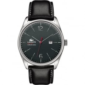 Lacoste Austin 2010748 Men's Silver & Black Leather Strap Watch