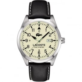 Lacoste 2010782 Men's Montreal Silver & Black Leather Watch