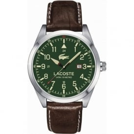 Lacoste 2010781 Mens Montreal Silver & Brown Leather Watch