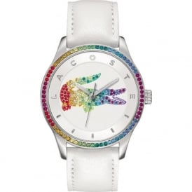 Lacoste 2000822 Victoria Crystal & White Leather Strap Woman's Watch