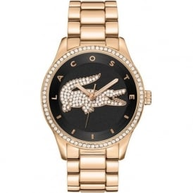 Lacoste Victoria 2000871 Black & Rose Gold Linked Strap Watch