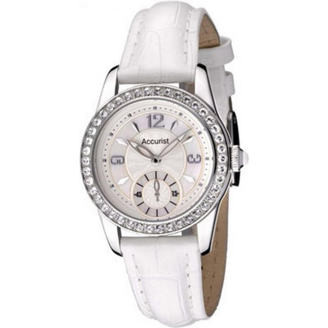 Accurist White Leather Ladies Watch LS164WX