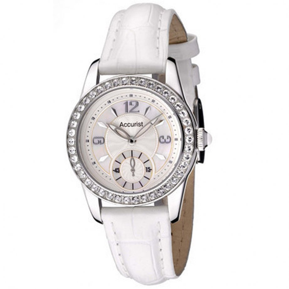 Watch white leather LS164WX | cheapest Accurist white ladies watch
