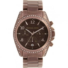 Ladies Chronograph Brown Stainless steel Watch MK5493