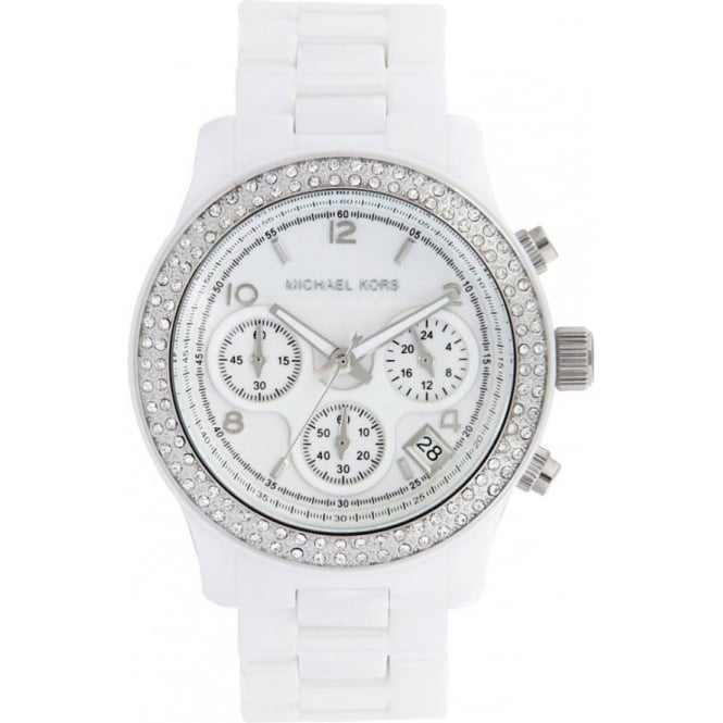 e9558c800 MK5188 Runway Chronograph White Ceramic Ladies Watch