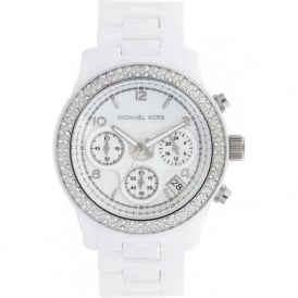 Michael Kors Watches Ladies Chronograph White Ceramic Watch MK5188